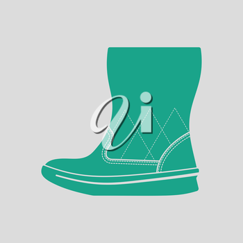 Woman fluffy boot icon. Gray background with green. Vector illustration.