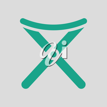 Icon of Fishing folding chair. Gray background with green. Vector illustration.