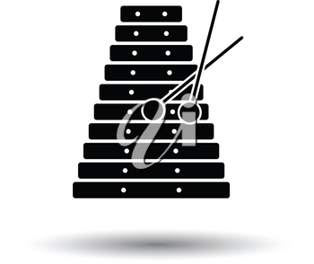 Xylophone icon. White background with shadow design. Vector illustration.
