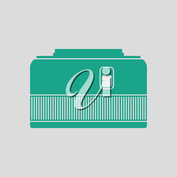 Icon of photo camera 50 mm lens. Gray background with green. Vector illustration.