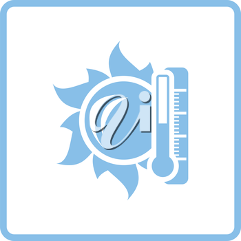 Sun and thermometer with high temperature icon. Blue frame design. Vector illustration.
