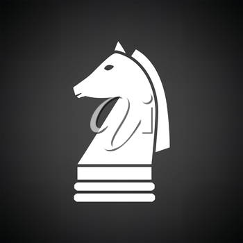 Chess horse icon. Black background with white. Vector illustration.