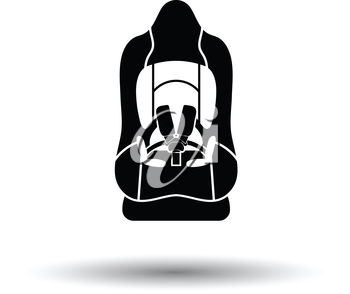 Baby car seat icon. White background with shadow design. Vector illustration.