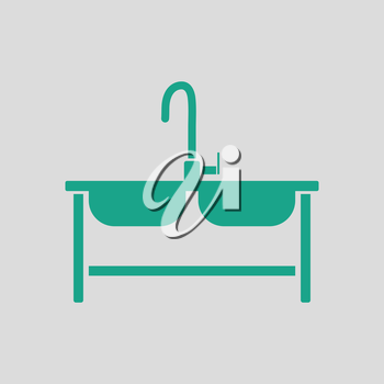 Double sink icon. Gray background with green. Vector illustration.