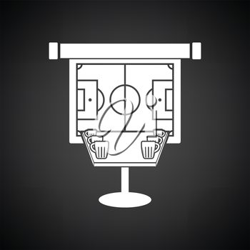 Sport bar table with mugs of beer and football translation on projection screen icon. Black background with white. Vector illustration.