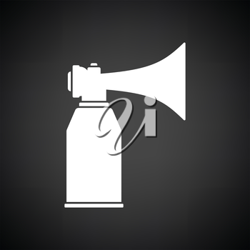 Football fans air horn aerosol icon. Black background with white. Vector illustration.