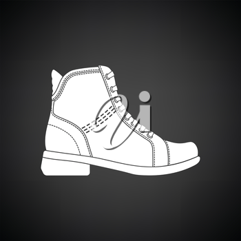 Woman boot icon. Black background with white. Vector illustration.