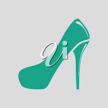 Female shoe with high heel icon. Gray background with green. Vector illustration.