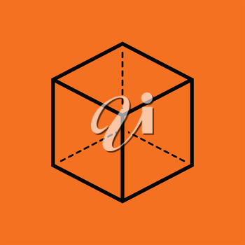 Cube with projection icon. Orange background with black. Vector illustration.