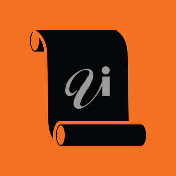 Canvas scroll icon. Orange background with black. Vector illustration.