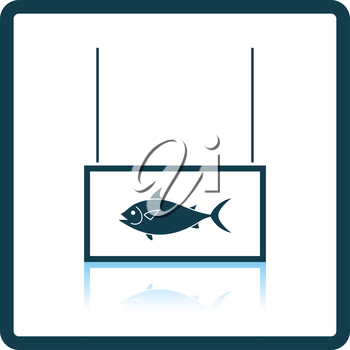 Fish market department icon. Shadow reflection design. Vector illustration.
