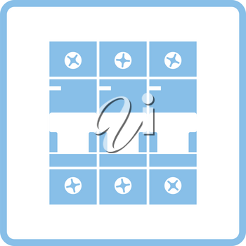 Circuit breaker icon. Blue frame design. Vector illustration.