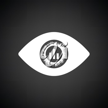 Eye with market chart inside pupil icon. Black background with white. Vector illustration.