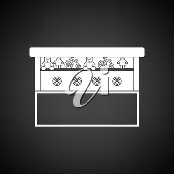 Prize shooting range icon. Black background with white. Vector illustration.