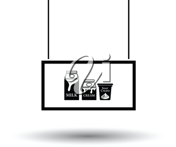 Milk market department icon. Black background with white. Vector illustration.
