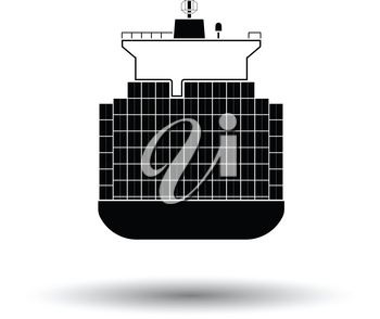 Container ship icon. White background with shadow design. Vector illustration.