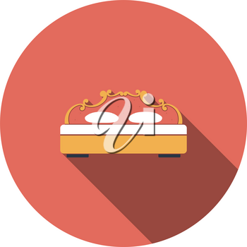 King-size Bed Icon. Flat Circle Stencil Design With Long Shadow. Vector Illustration.