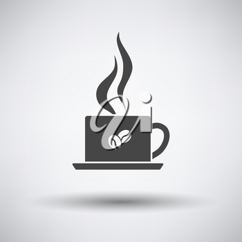 Smoking Cofee Cup Icon. Dark Gray on Gray Background With Round Shadow. Vector Illustration.