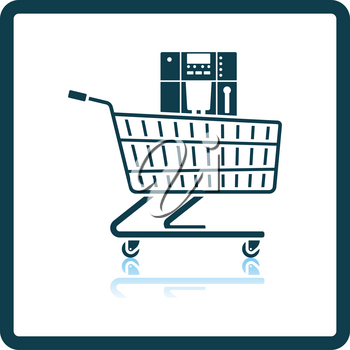 Shopping Cart With Cofee Machine Icon. Square Shadow Reflection Design. Vector Illustration.