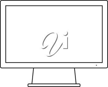 Monitor Icon. Outline Simple Design With Editable Stroke. Vector Illustration.