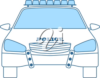 Police Car Icon. Thin Line With Blue Fill Design. Vector Illustration.