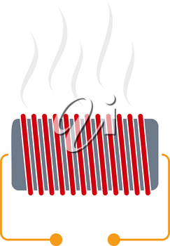 Electrical Heater Icon. Flat Color Design. Vector Illustration.
