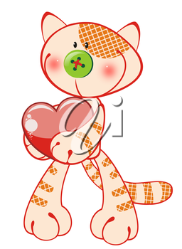 Royalty Free Clipart Image of a Kitten Holding a Heart