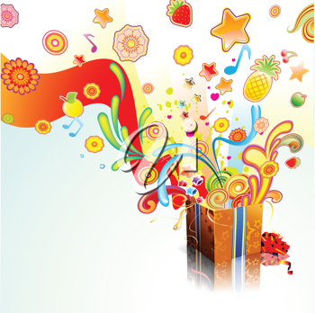 Royalty Free Clipart Image of a Funky Present Design