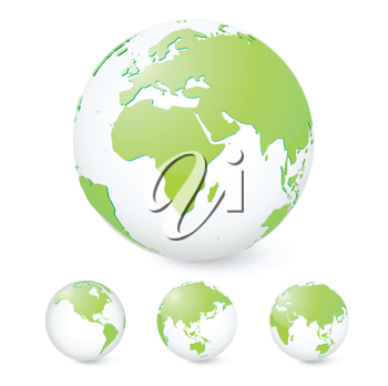 Royalty Free Clipart Image of Green Globes