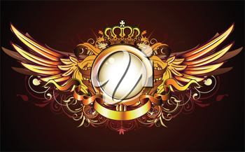 Royalty Free Clipart Image of a Winged Shield