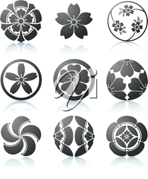 Royalty Free Clipart Image of Sakura Graphic Elements