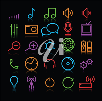 Royalty Free Clipart Image of Multimedia Icons