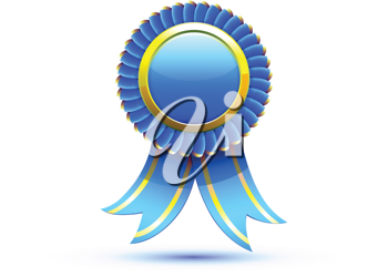 Royalty Free Clipart Image of a Blue Ribbon