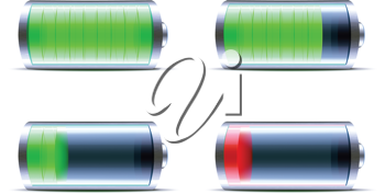 Royalty Free Clipart Image of Battery Level Indicator Icons