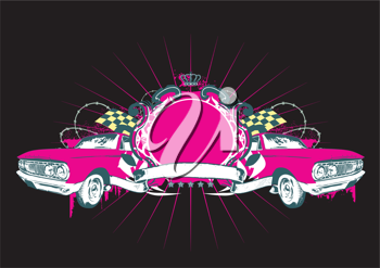 Royalty Free Clipart Image of a Vintage Car Insignia