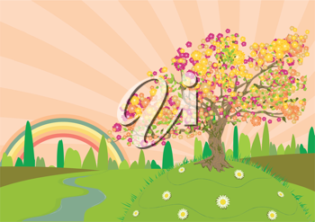 Royalty Free Clipart Image of a Countryside Background