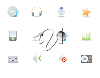 Royalty Free Clipart Image of Digital Music Icons