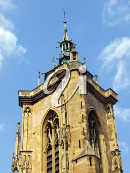 Royalty Free Photo of The Bell Tower of the Church in Colmar, France