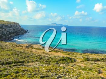 The turquoise waters of the picturesque bay. Favignana