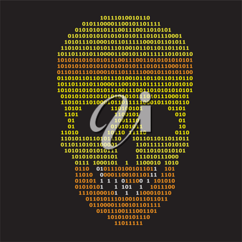 Royalty Free Clipart Image of a Skull on Black Background