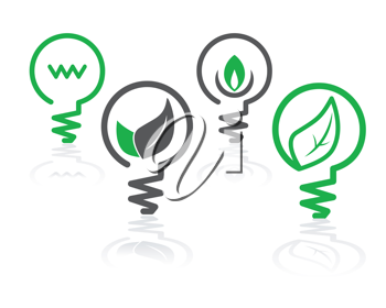Royalty Free Clipart Image of a Set of Environment Green Icons with Light Bulbs and Leaves