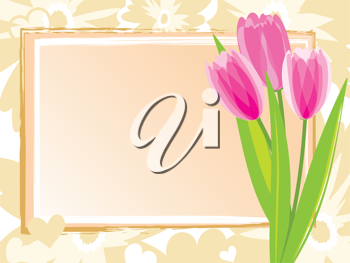 Royalty Free Clipart Image of a Spring Frame with Tulips at the Side