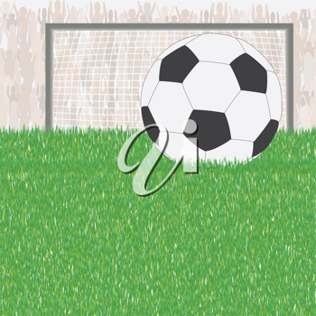 Royalty Free Clipart Image of a Soccer Ball and Fans