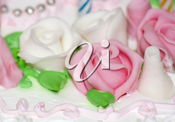 Royalty Free Photo of an Icing Rose on a Cake