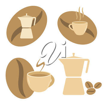 Symbols Set of Mokka pot, coffee cups and beans vector image.