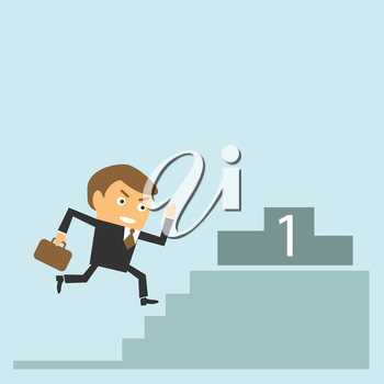 Businessman running to get target. Success and goal achievement concept. Vector character illustration.