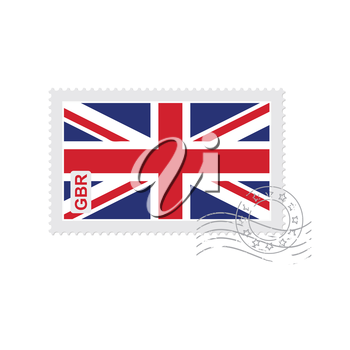 british flag old postage stamp isolated on white vector illustration