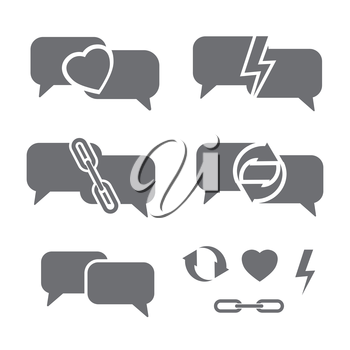 dark speech bubbles with heart, chains, lightning and circled arrows as communication abstract vector illustration set