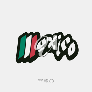 Mexico script hand lettering text vector illustration