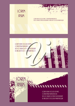 Abstract brochure headpage templates. Flyer grunge style texture purple yellow set. Promotion booklet vector illustration. horizontal cover leaflet collection.